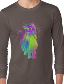 Psychic psychedelic trippy cat Long Sleeve T-Shirt