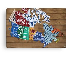 Map of Canada License Plate Industrial Art - Light Walnut Canvas Print