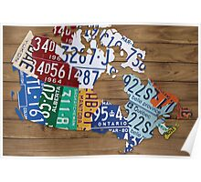 Map of Canada License Plate Industrial Art - Light Walnut Poster