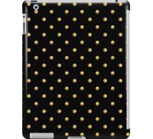 Pattern with golden polka dots on black background iPad Case/Skin