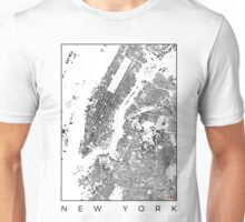 New York Map Schwarzplan Only Buildings Urban Plan Unisex T-Shirt