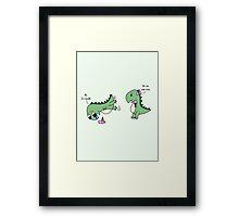 Dino Love (sharing) Framed Print