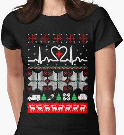 Christmas nurse cna doctor ugly sweater Womens Fitted T-Shirt