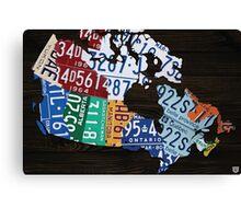 Map of Canada License Plate Vintage Art - Ebony Canvas Print
