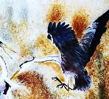 The Attacking Gray Heron of the two Battling Herons by David M Scott
