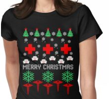 Merry Christmas nurse cna ugly sweater Womens Fitted T-Shirt
