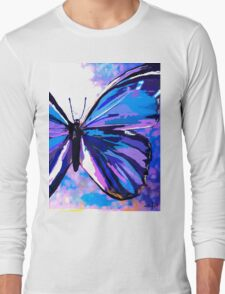 A Butterfly So Blue Long Sleeve T-Shirt