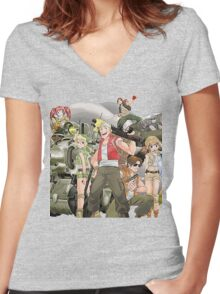 Metal Team Women's Fitted V-Neck T-Shirt
