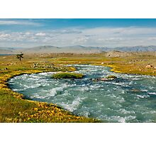Glacial River in Mongolia  Photographic Print