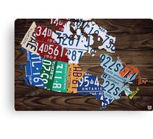 Map of Canada Map Made from License Plates - Dark Walnut Canvas Print