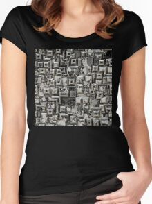 Abstract Geometric Skulls Collage Women's Fitted Scoop T-Shirt