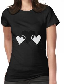 Monochrome Hearts Womens Fitted T-Shirt