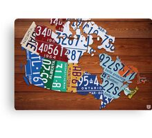 Map of Canada License Plate Industrial Art - Cherry Canvas Print