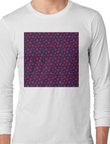 Red stars on bold blue background Long Sleeve T-Shirt