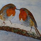 CHRISTMAS ROBINS - water colour by Marilyn Grimble