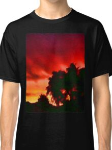 Weeping Tree Silhouette against the Sunset 1 Classic T-Shirt