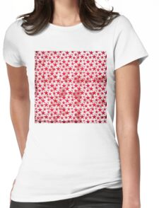 Red stars on grunge textured white Womens Fitted T-Shirt
