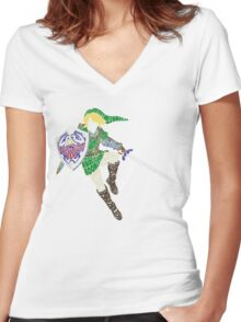 Link Typography Women's Fitted V-Neck T-Shirt