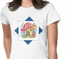 Vintage Pixie Elf In His Mushroom House Retro Kitsch Design Womens Fitted T-Shirt