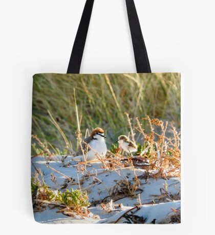 Red-capped plover male & chick Tote Bag