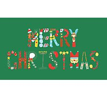 Colourful Merry Christmas Photographic Print