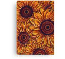 Sunflowers Pattern Orange Canvas Print