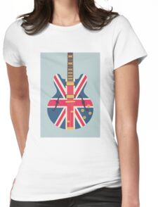 Oasis Union Jack Guitar (Eggshell) Womens Fitted T-Shirt