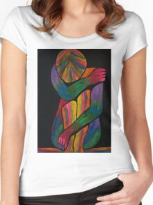 Sorrowful Shrug Vivid Female Abstract Women's Fitted Scoop T-Shirt
