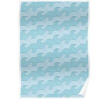 Blue Sea Waves Poster