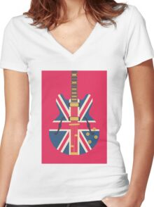 Oasis Union Jack Guitar (Crimson) Women's Fitted V-Neck T-Shirt