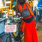 Baba, bicycle and OM bag by indiafrank