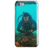 Diver at the swim through. iPhone Case/Skin