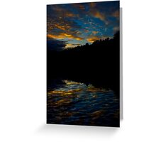A Rippled Sunrise Reflection Over The Bosque Greeting Card