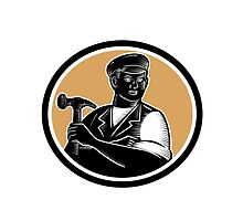 Carpenter Holding Hammer Woodcut by retrovectors
