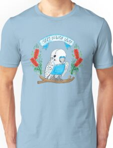 Crazy Budgie Lady (with banksia flowers) Unisex T-Shirt
