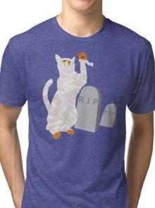 Giant Mummy Cat Monster Cute Horror Cartoon Tri-blend T-Shirt
