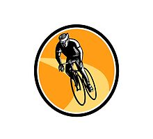 Cyclist Cycling Riding Racing Bike Woodcut by retrovectors