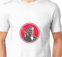 Paramilitary Wearing Beret Rifle Woodcut Unisex T-Shirt