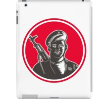 Paramilitary Wearing Beret Rifle Woodcut iPad Case/Skin
