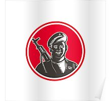 Paramilitary Wearing Beret Rifle Woodcut Poster
