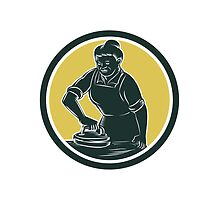 African American Woman Ironing Clothes Woodcut by retrovectors