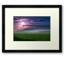 Beautiful sunset over green field. Framed Print