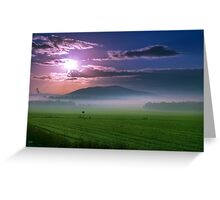 Beautiful sunset over green field. Greeting Card