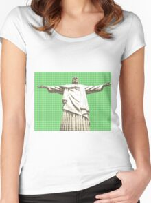 Christ The Redeemer - Green Women's Fitted Scoop T-Shirt