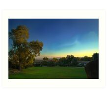 Sunrise over farmland. Morning view of the perfect sky. Art Print