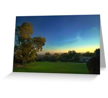 Sunrise over farmland. Morning view of the perfect sky. Greeting Card