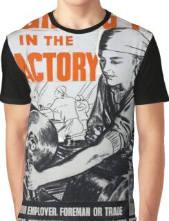 Vintage poster - Fighting Fit in the Factory Graphic T-Shirt