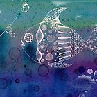 Blue and White Doodle Fish by Sukilopi