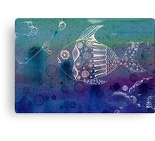 Blue and White Doodle Fish Canvas Print