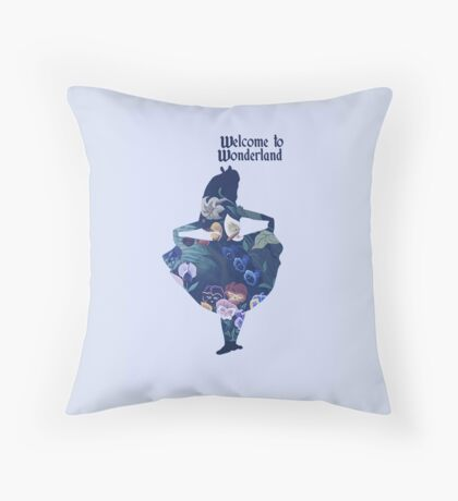 Welcome to Wonderland - Blue Throw Pillow